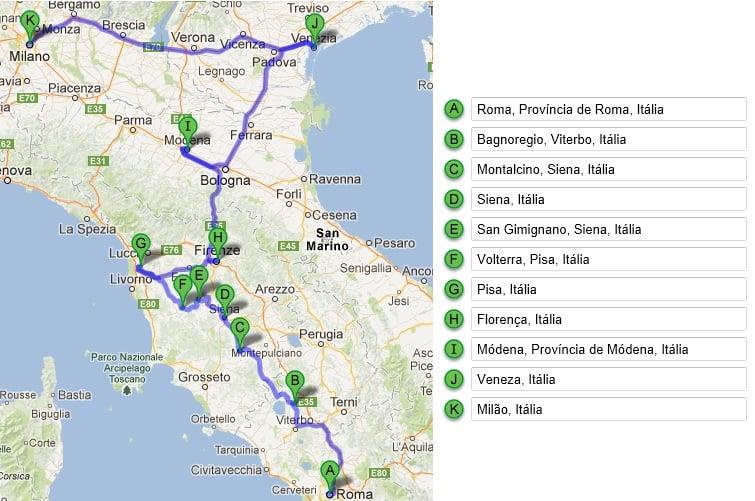 Roteiro de carro pelo norte da Itália