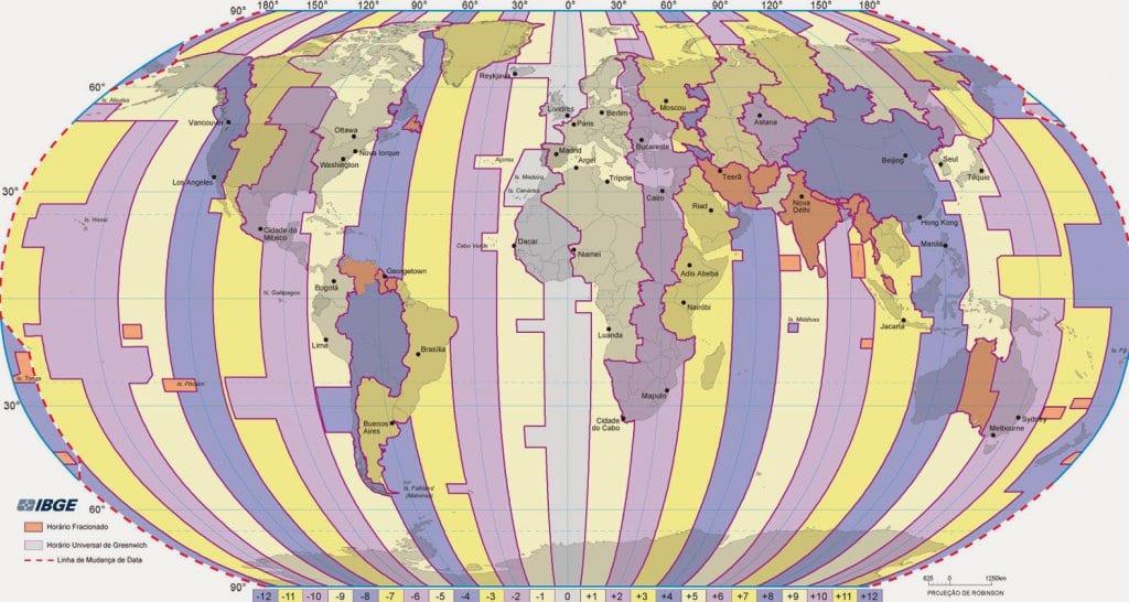 Mapa de fuso horário