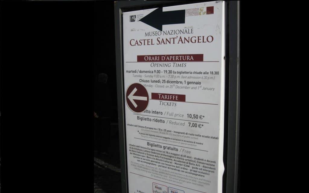 Informações sobre o Castelo de Santo Ângelo em Roma
