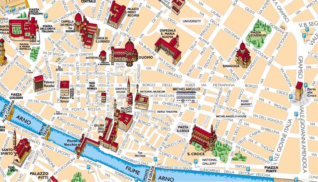Mapa dos pontos turísticos em Florença