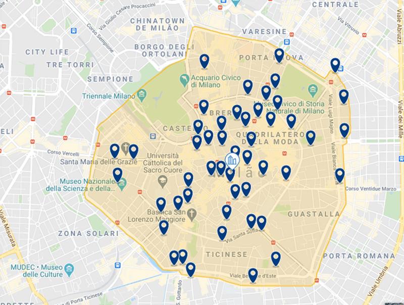Mapa das melhores regiões para se hospedar em Milão
