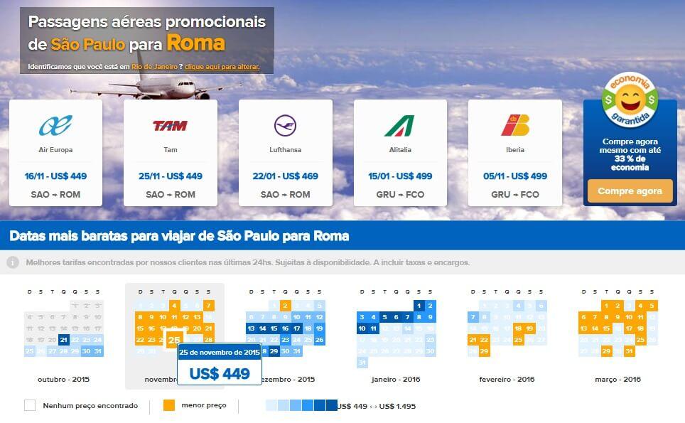 Comparador de passagens aéreas para Roma