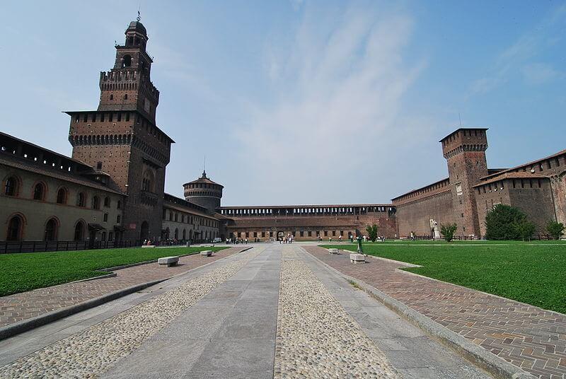 Estrutura do Castelo Sforzesco em Milão