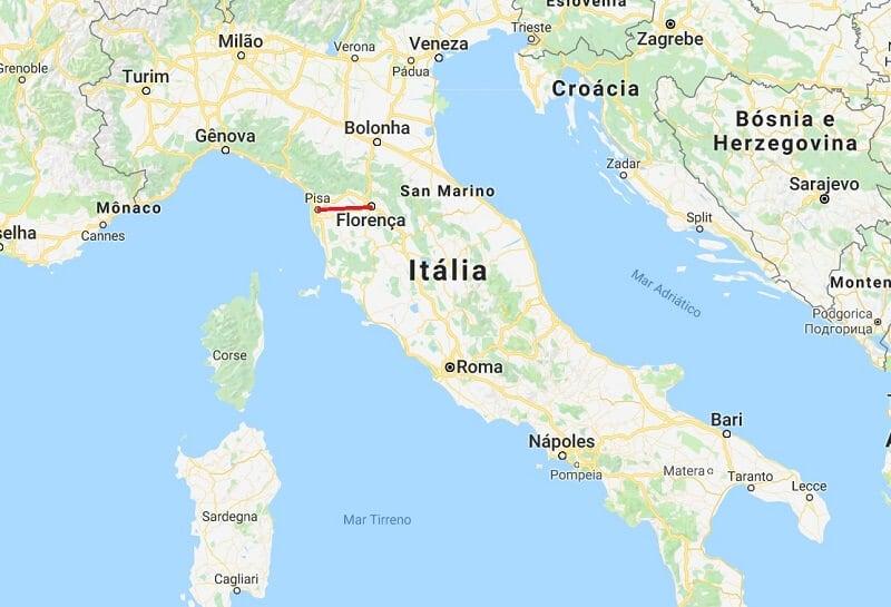 Mapa da viagem de Florença para Pisa