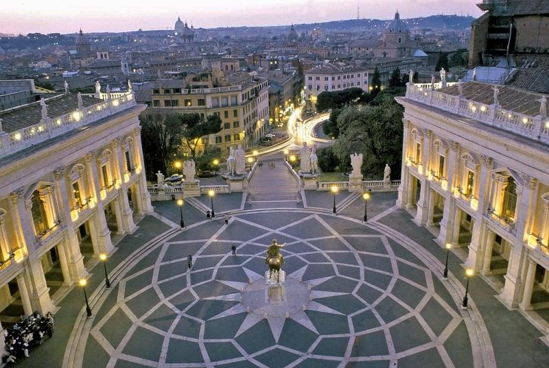 Piazza Campidoglio no Monte Captolino em Roma na Itália