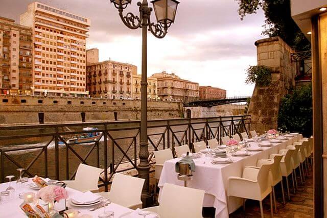 Vista do Ristorante Al Canale em Taranto