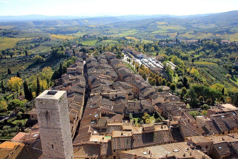 Vista do alto da Torre Grossa em San Gimignano