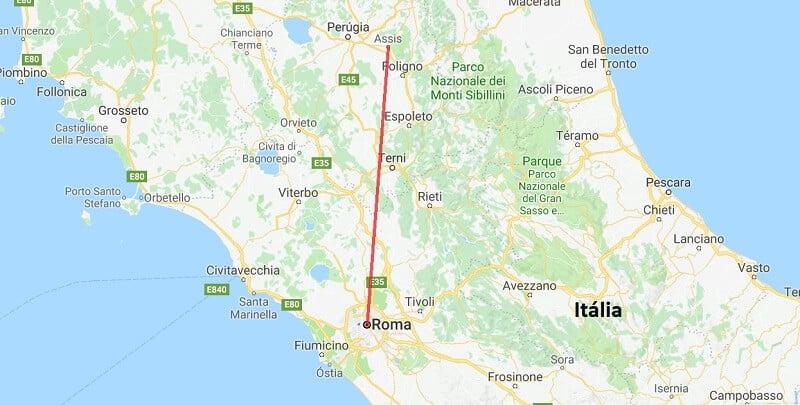 Mapa da viagem de Assis a Roma