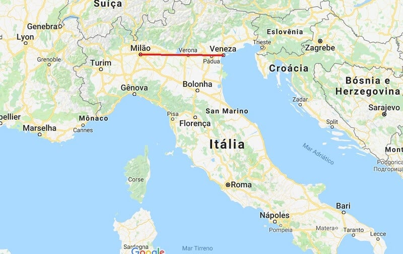 Mapa da viagem de Veneza a Milão