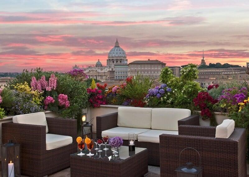 Vista do restaurante Roof Garden Les Etoiles em Roma