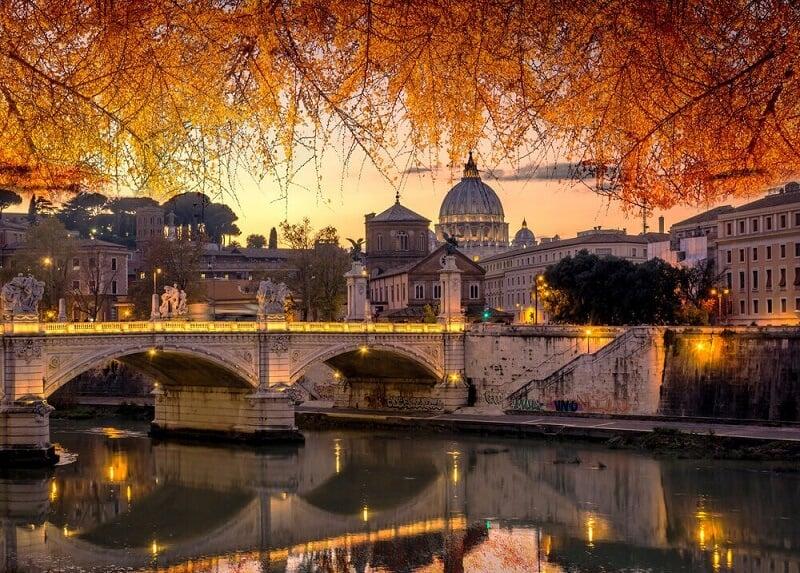 Vista da cidade de Roma no inverno