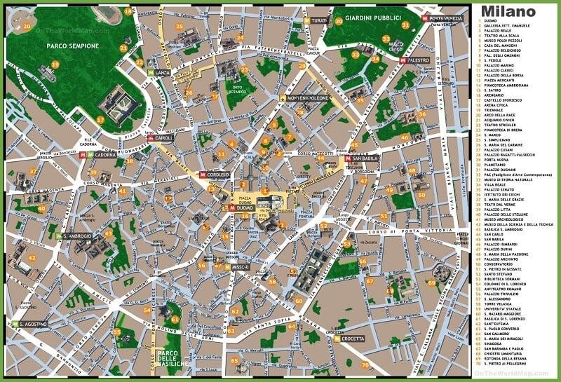 Mapa da região central de Milão
