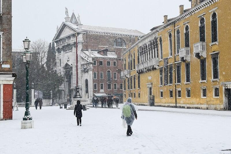 Cidade de Veneza durante o inverno
