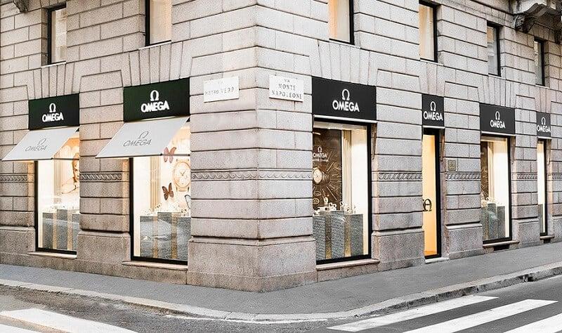 Loja da Omega na Via Montenapoleone